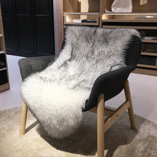 Soft Artificial Sheepskin Chair Cover Warm Hairy Carpet Seat Pad Plain Skin Fur Plain Fluffy Area Rugs Washable Bedroom Faux Mat