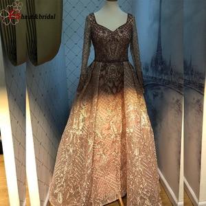 Image 4 - Cömert Dubai akşam elbise kadınlar için 2020 uzun kollu Aline lüks v yaka kristal el yapımı dantel arapça balo örgün parti kıyafeti
