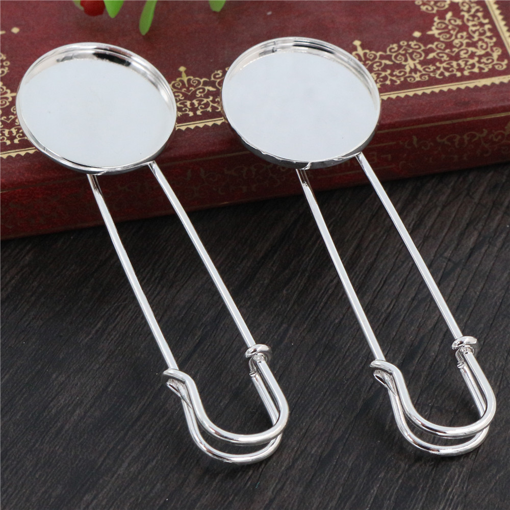 New Fashion 5pcs 25mm Inner Size Bright Silver Plated Brooch Pin Simple Style Cabochon Base Setting Pendant (J5-03)