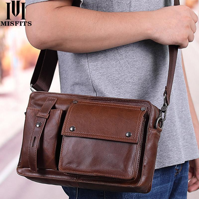 MISFITS 100% genuine leather men shoulder bag casual messenger bag for ipad man vintage crossbody shoulder bags with card holder