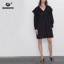 ROHOPO Butterfly Shoulder Long Sleeve Patchaork Lace Poplin Black Straight Dress Autumn Baggy Vintage Loose Vestido #2234