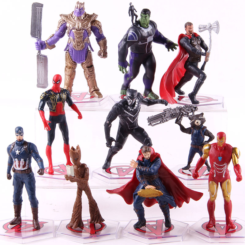 Avengers Endgame Thanos Doctor Strange Iron Man Thor Captian America Spiderman Tree Man Rocket PVC Action Figures Toys 10pcs/set