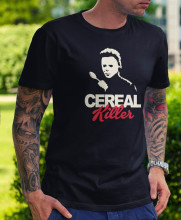 купить Cereal Killer Men'S T-Shirt - Novelty Gift Funny Halloween Michael Myers Horror T-Shirt Summer Cotton Casual Tee Shirts дешево
