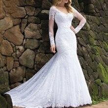 Кружевное свадебное платье с v образным вырезом и длинными рукавами