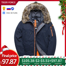 TIGER FORCE Winter Jacket Men Padded Parka Mens Warm Coat Men's Winter Coat Artificial Fur Big Pockets Thick Parkas Medium-long(China)
