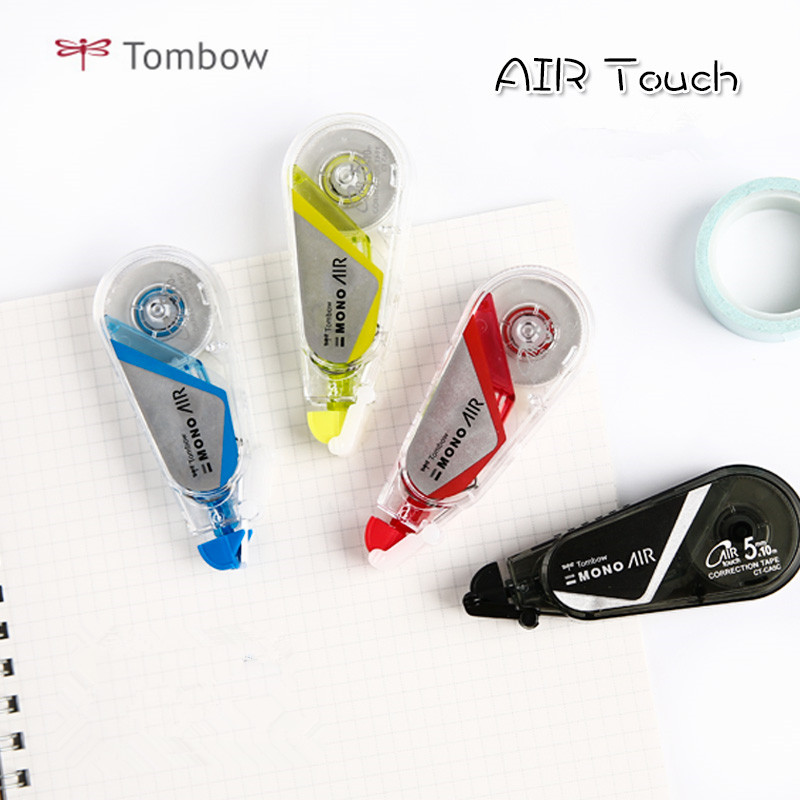 1pc Japan Tombow MONO Series AIR Touch Mute Correction Tape Mini Cute Corrector Portable CT-CA5C32 10m Black/Red/Yellow/Blue