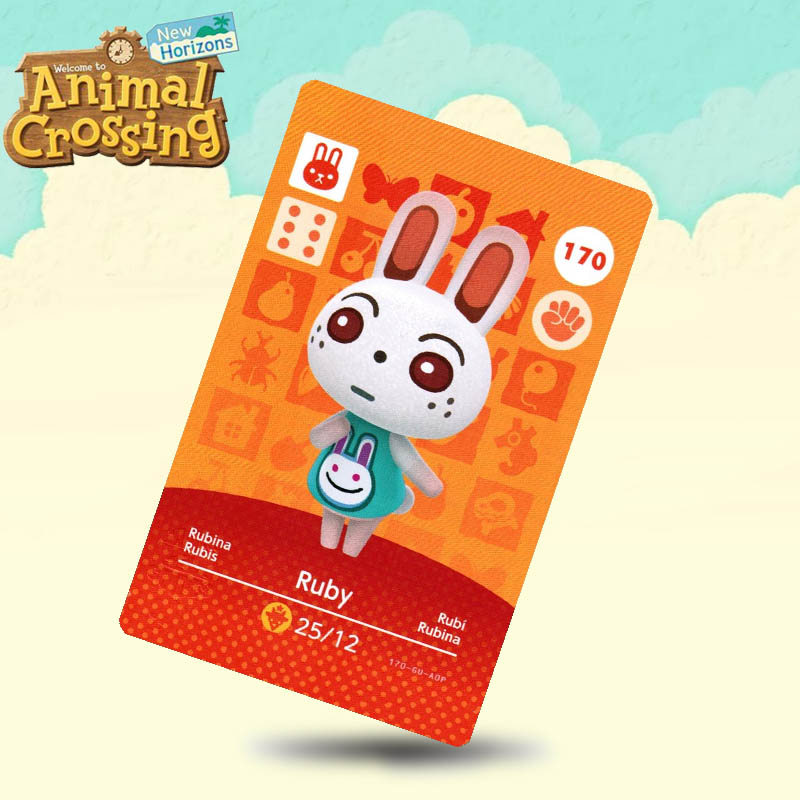 170 Ruby Animal Crossing Card Amiibo Cards Work For Switch NS 3DS Games