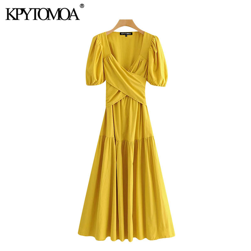KPYTOMOA Women 2020 Chic Fashion Back Bow Tied Pleated Midi Dress Vintage V Neck Short Sleeve Female Dresses Vestidos Mujer