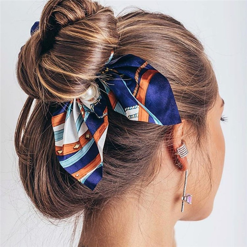 Fashion Chiffon Bowknot Silk Hair Scrunchies Flower Print Elastic Hair Rope Women Hair Bow Ties Pearls Scrunchie Ribbon Hairband