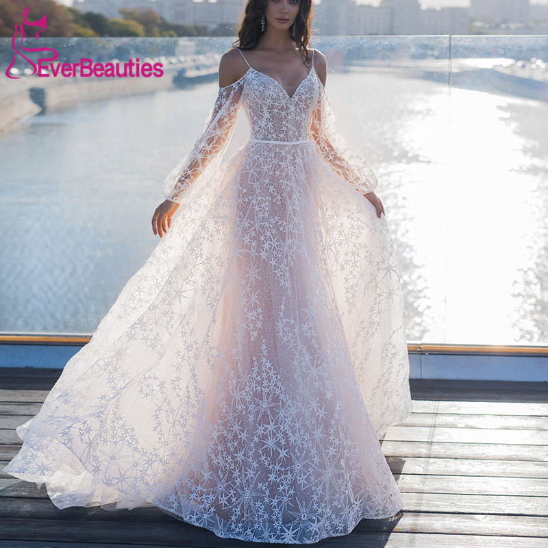 Elegant Star Appliques Chic Wedding Dress 2019 Spaghetti Straps  A-line Boho Bridal Dress