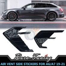 Глянцевая черная наклейка на вентиляционное отверстие из АБС-пластика для Audi A4 A5 A7 S7 RS7 Sportback A6 S6 RS6 Avant Allroad 2019-2021, комплекты кузова, Боковая От...