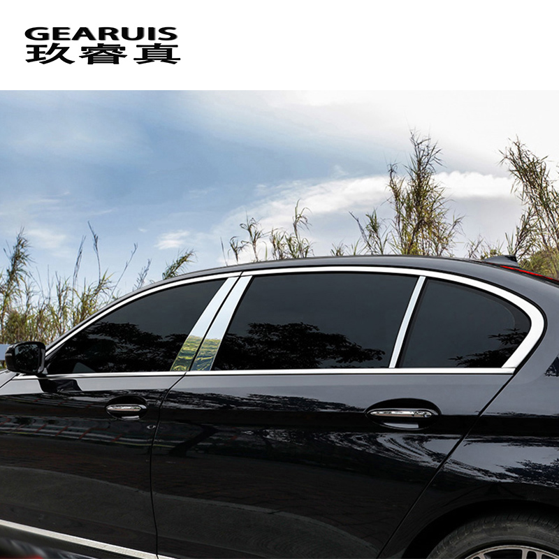 Car Styling Window BC Pillars Sequins Decoration Middle Column Panel Covers Stickers Trim For BMW 5 Series G38 G30 Accessories