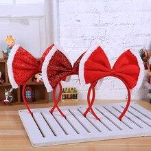 Милый красный бант застежка-молния Рождественская шапка Санты вечерние Декор дети взрослые волосы лента застежка наголовный обруч Рождество Navidad новогодний декор