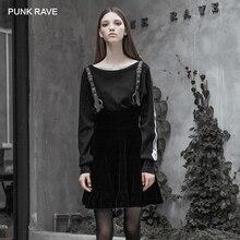 Strap-Skirt Velvet Metal Waist-A Punk Rave Gothic Black Women's Decoration Sling Pendulum