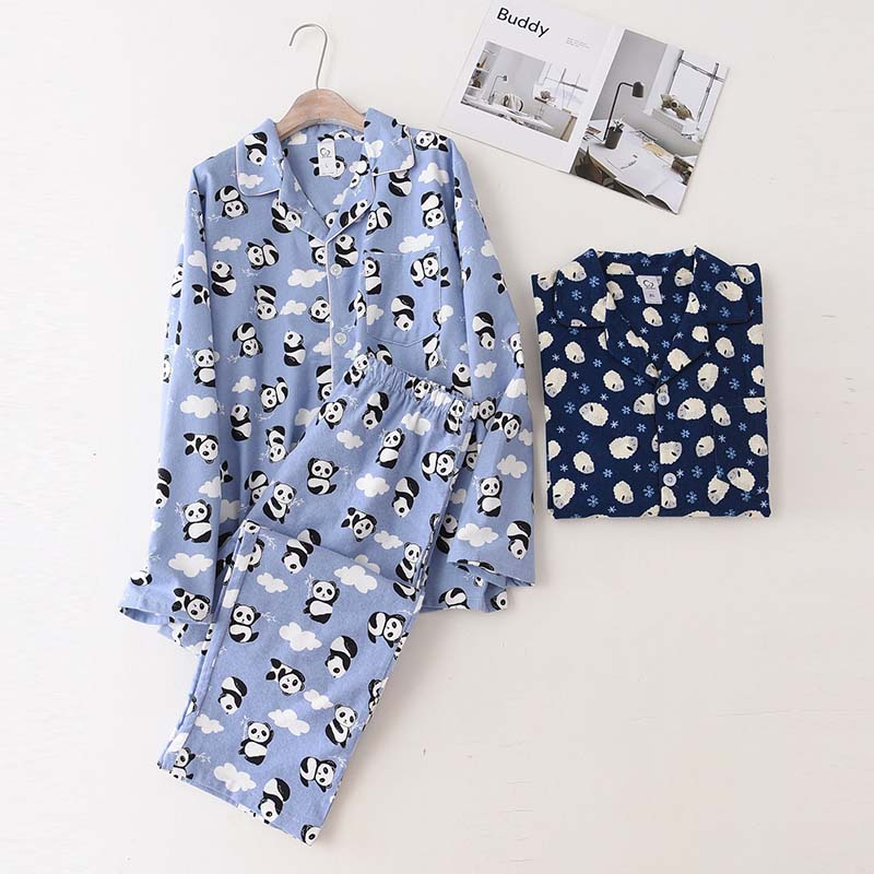 Autumn And Winter New Men's Pajamas Set Cartoon Printed Light Blue Simple Style Sleepwear Set Full Cotton Homewear Casual Wear
