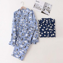 Sleepwear-Set Full-Cotton Homewear Light-Blue Winter Men's Cartoon New Autumn And Simple-Style