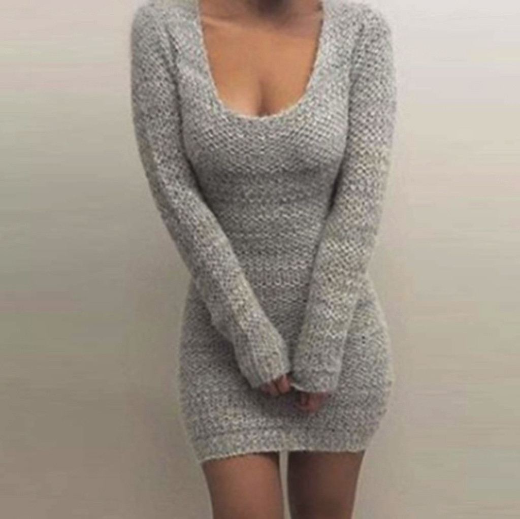 Sexy Low Cut Sweaters Dress Women Slim Fit Knitted Pullovers Lady U-neck Knits Tops Winter Long Sleeve Bodycon Jumper Knitwear