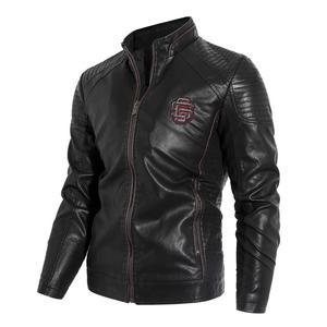 Image 1 - 新2019秋と冬モデルプラスベルベット男性の襟襟puオートバイの革のジャケットジャケット