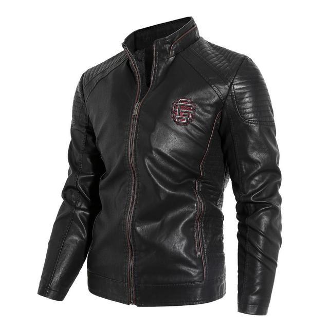 חדש 2019 סתיו וחורף מודלים בתוספת קטיפה גברים של עור צווארון צווארון PU אופנוע עור מעיל מעיל
