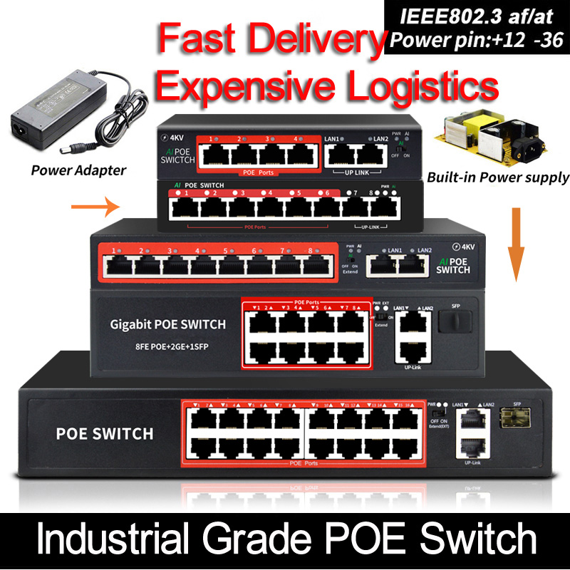 48V POE switch with standardized RJ45 port IEEE 802 3 af at 4port  8port Network switch Ethernet with 10 100Mbps for POE cameras