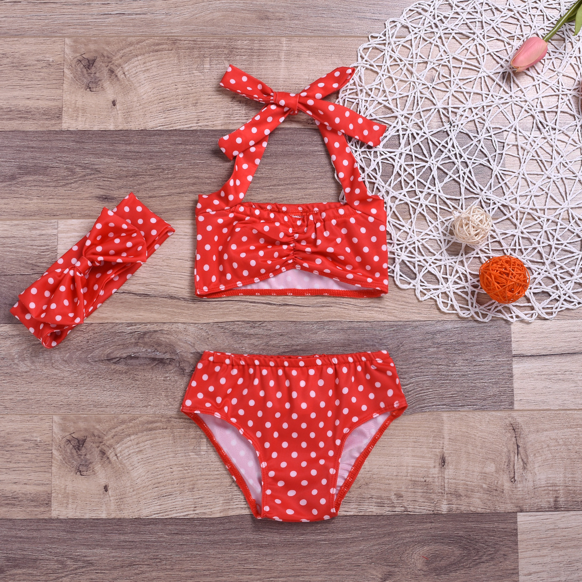 INS Summer Infants Girls Dotted Red Bikini Two-piece Swimsuits Hot Springs Swimming