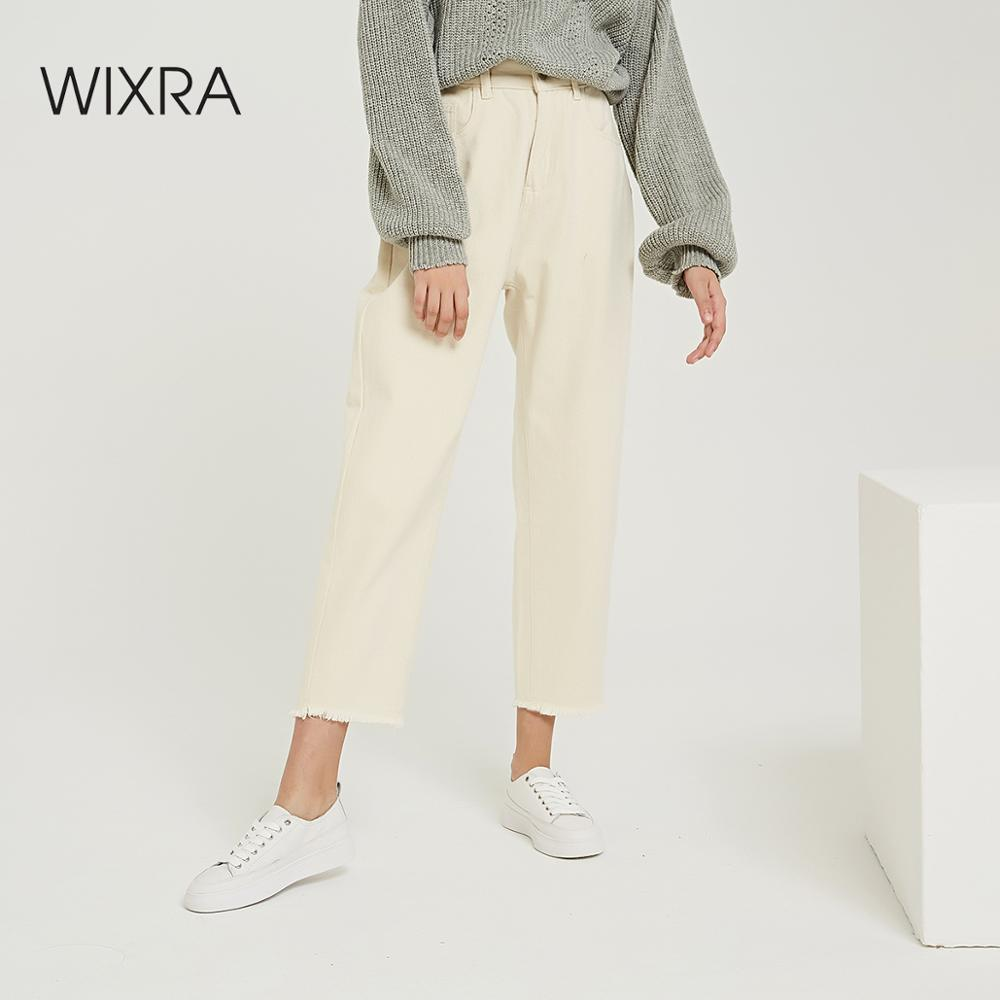 Wixra 2019 New Stylish Solid Casual Women's Pants High Waist Pockets Long Trousers Spring Autumn Ladies Jeans Bottom
