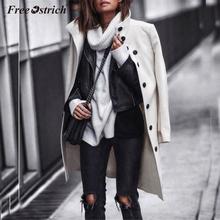 Free Ostrich 2019 Winter Coat Women Wool Blend Coat Oversize Long Sleeve Solid Button Long Coat Outwear Wool Coat Women N30 cheap Polyester COTTON Polyester Cotton A-Line Casual Single Breasted REGULAR MANDARIN COLLAR women Coat Full woolen coat women