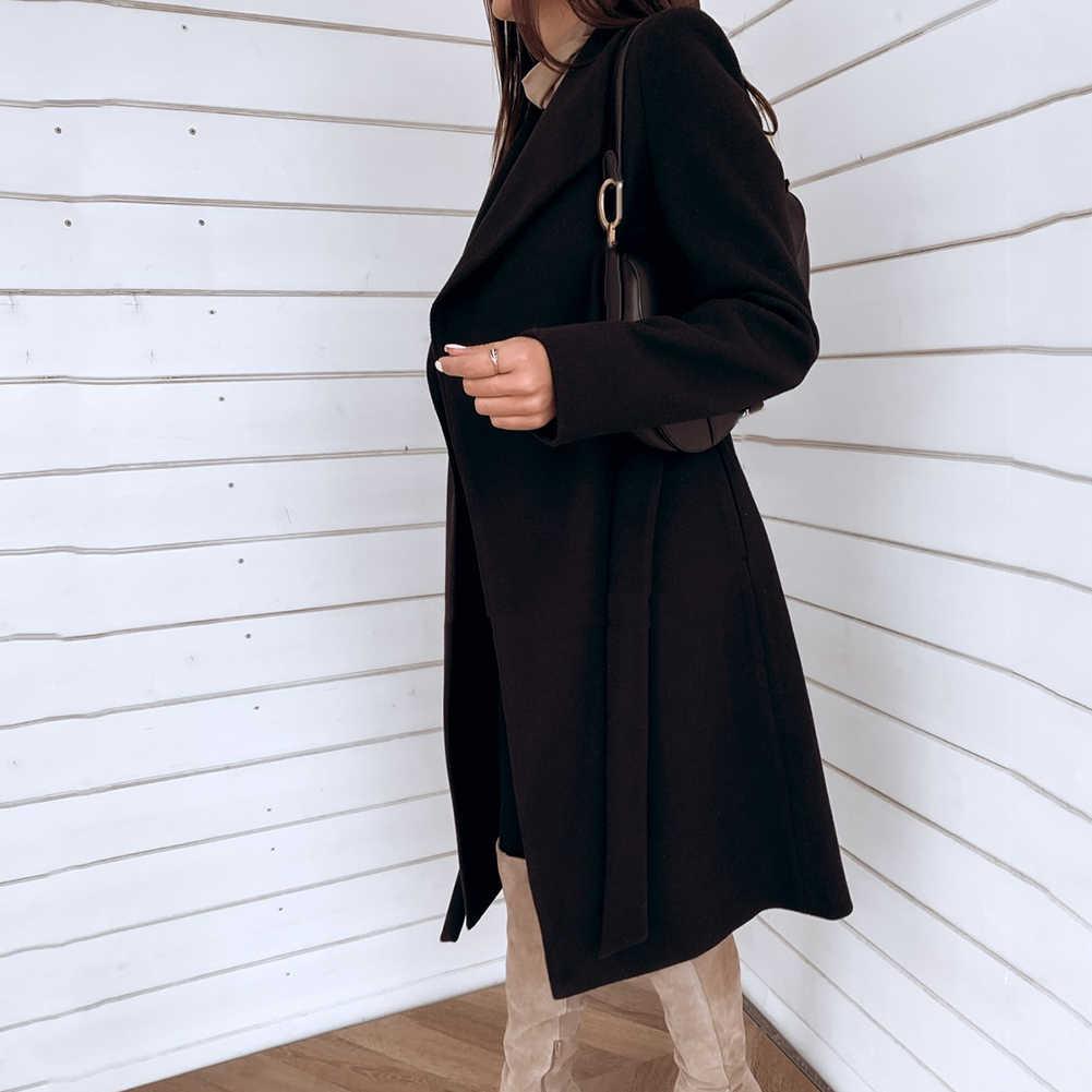 سترة طويلة خندق معطف المرأة الخريف الشتاء فضفاضة البرية متماسكة سترة معطف أنيقة سترة واقية معطف طويل سترة خندق معطف