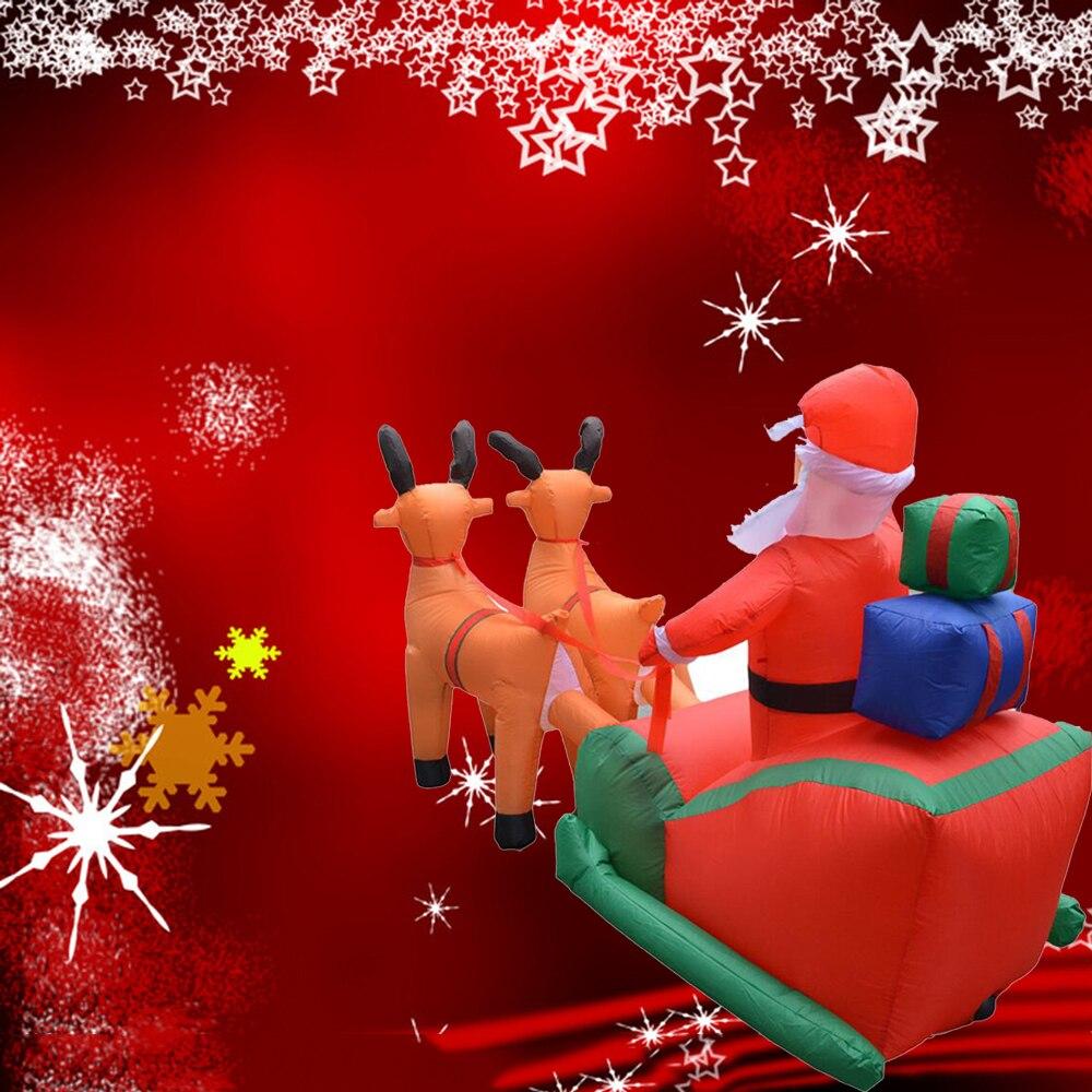 Рождественская надувная тележка с оленем, Рождественская двойная тележка с оленем, Санта Клаус, рождественское платье, украшения, добро пожаловать, реквизит - 3