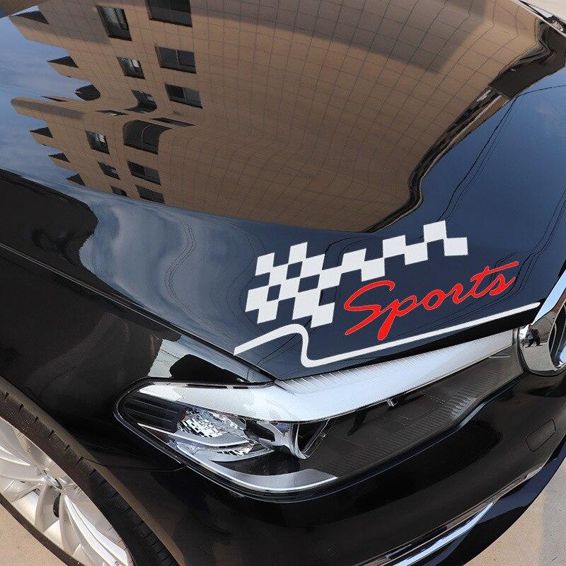 Lattice Flag Personality Written Words Sport Automobile Sticker Lamp Eyebrow Car Sticker