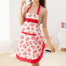 Women Floral Bowknot Waterproof Kitchen Restaurant Cooking Pocket Dress Apron
