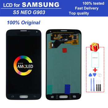 Original Super AMOLED 5.1 S5 NEO G903 LCD monitor for Samsung Galaxy SM-G903M G903 G903F LCD digital touch screen assembly image