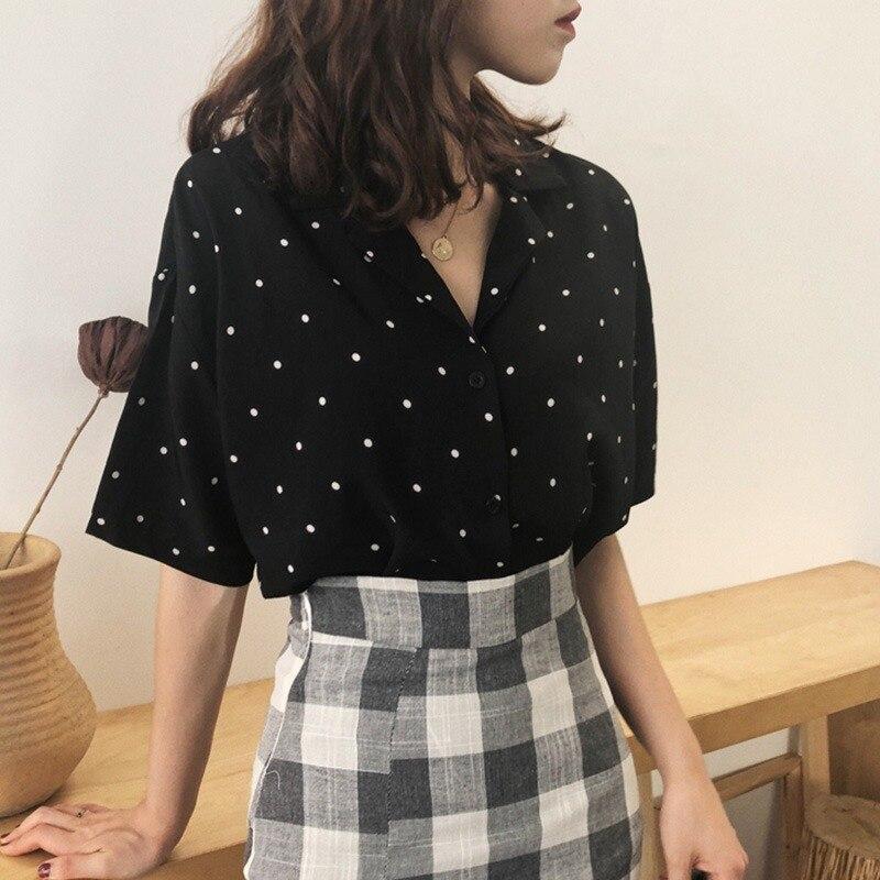 Polka Dot Blouse Women\s Turn Down Collar Casual Short Tops Fashion Women Summer Sleeve
