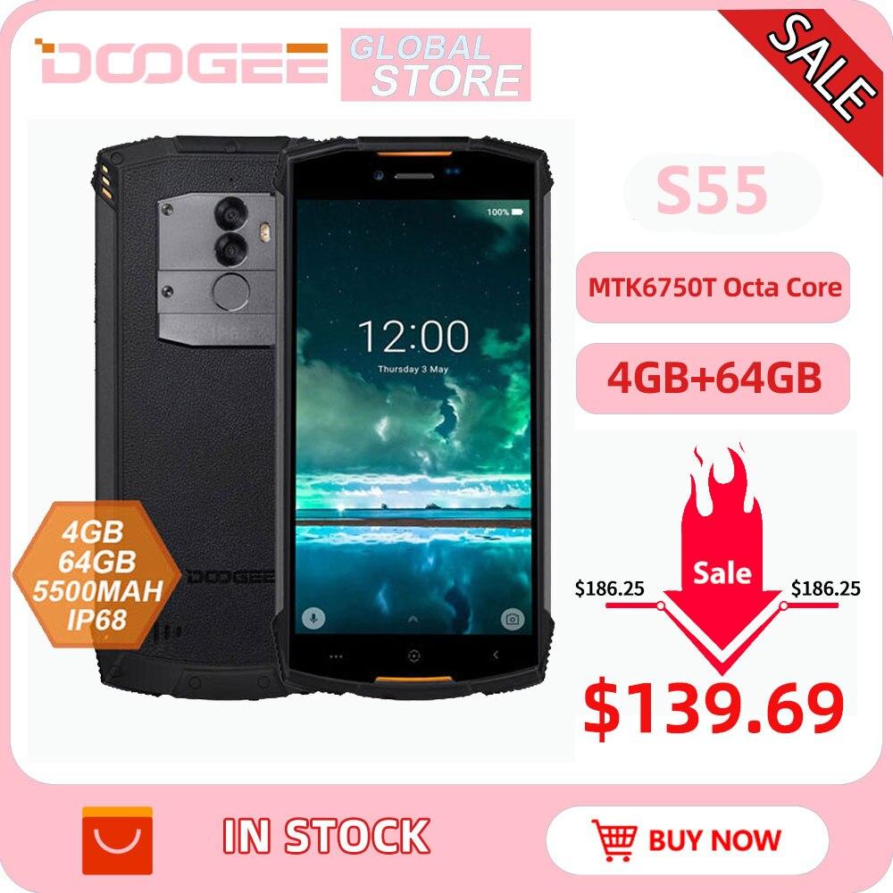 Фото. IP68 DOOGEE S55 Открытый водонепроницаемый смартфон MTK6750T Octa Core 4 GB Оперативная память 64 Гб