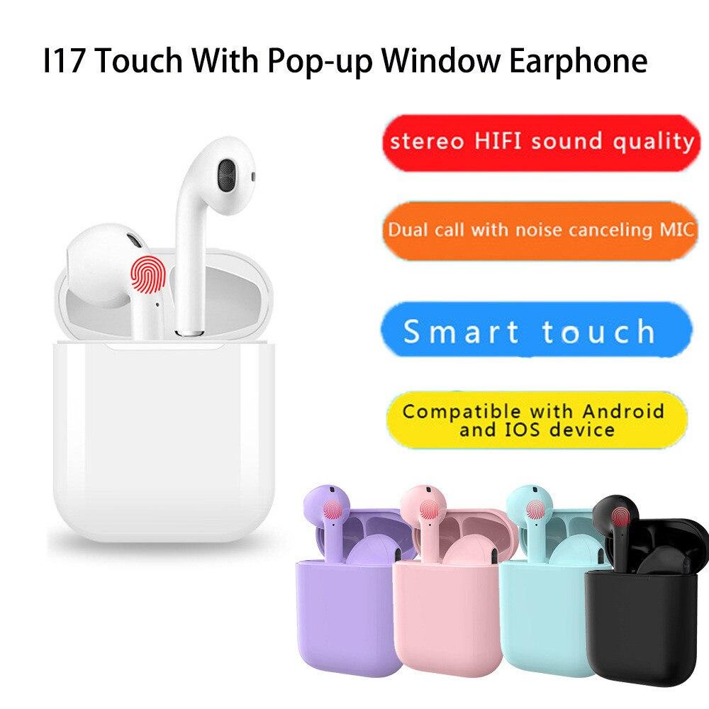 2019 nova I17 TWS fone de ouvido sem fio Bluetooth 5.0 toque automático pop-up esportes fone de ouvido estéreo 3D com caixa de carga pk i12 i16 i20