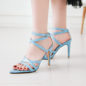 Image 5 - Summer Sandals Women Hot Solid Ankle Strap Gladiator Sandals Ladies High Heels Footwear Yellow Blue Party Wedding Shoes Big Size