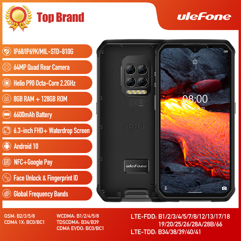 Ulefone Armor 9E Helio P90 Восьмиядерный 8 ГБ + 128 ГБ Android 10 Мобильный Телефон IP68 IP69K 64MP камера NFC Смартфон 6600 мАч 64MP камера