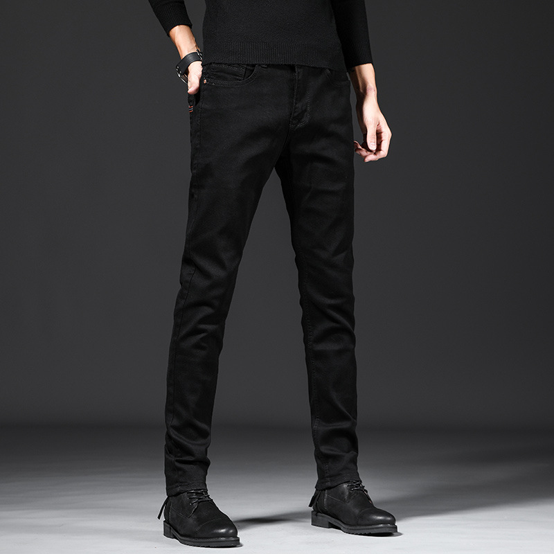 2019 Autumn New Style Elasticity Slim Fit Jeans Men Elasticity Small Trousers Men's Casual Trend Pants Black And White With Patt