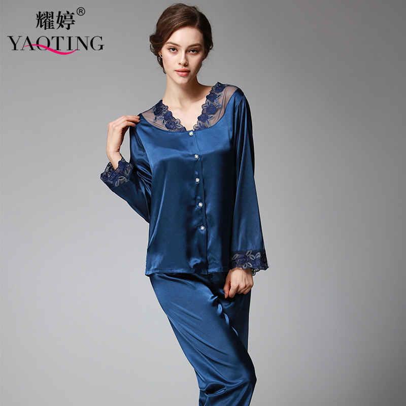 YAO TING 2019 Women Pajamas Two-piece Long Sleeve Pants Lace Decoration Silk Cloth Leisure Homewear V-neck Design Nightgown