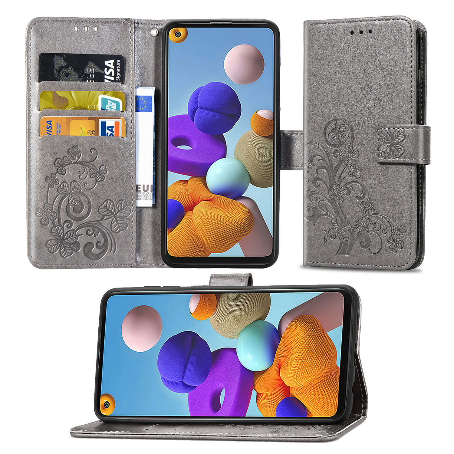 A217F Sculpture Emboss Leather Case For Samsung Galaxy A21s (6.5In) Cover Flip Stand Card Slot Wallet Book Cases A 21S A217