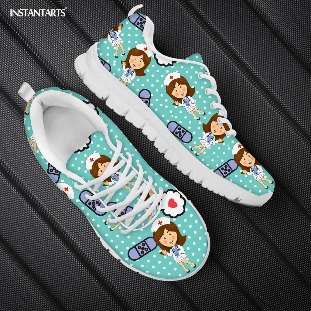 INSTANTARTS Симпатичные Медсестры модельная обувь; Женская Повседневная Уличная обувь для кормления обувь на плоской подошве; Брендовые летние туфли по индивидуальному заказу кроссовки светильник Вес