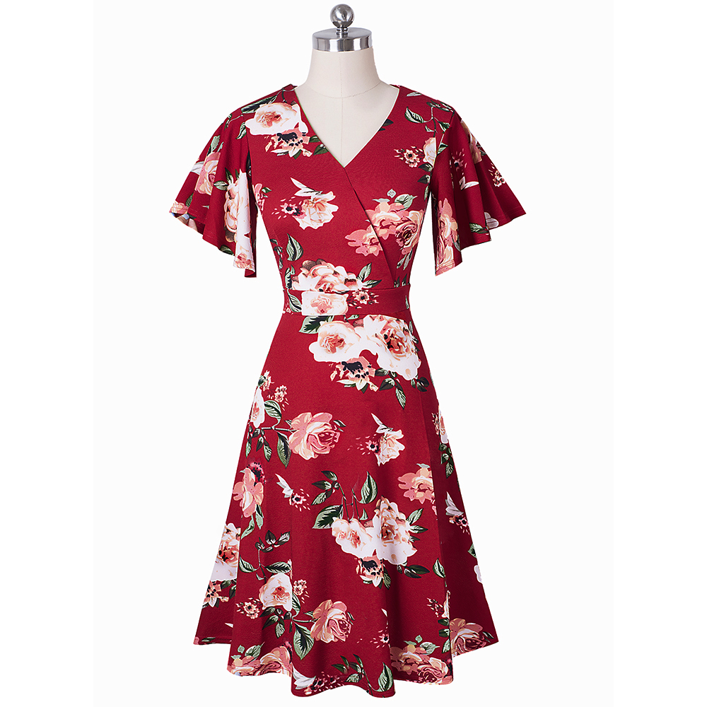 Image 4 - Nice forever Spring Elegant Floral with Ruffle Sleeve vestidos Business Party A Line Women Flare Dress A193Dresses   -