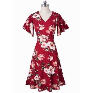 Image 2 - Nice robe florale élégante, avec manches à volants, ligne a daffaires, évasé pour femmes, A193, printemps