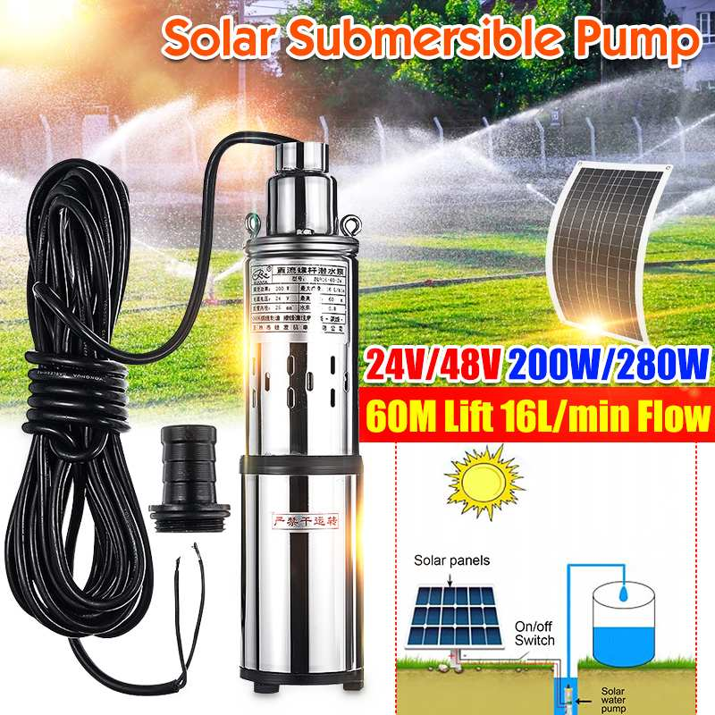 60m 24V/48V Solar Water Pump 200W/280W High Lift Deep Well Pump DC Screw Submersible Pump Agricultural Irrigation Garden Home