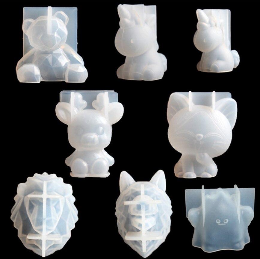 투명 유니콘 실리콘 에폭시 수지 금형 기하학 곰 토끼 금형 동물 아로마 테라피 양초 양식 장식 도구 만들기