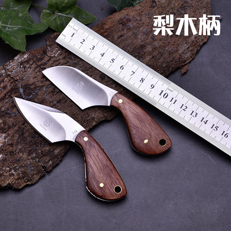 Mackwalker Outdoor Fixed Blade Knife Knives   Camping Hunting Knives Stainless Steel Knife  Pear Wood Handle With Knife Sheath