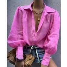 Модная однотонная женская простая блузка летняя рубашка с длинными рукавами-фонариками и лацканами на пуговицах Повседневная Женская блузка Топы