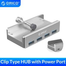 ORICO Aluminum 4 Ports USB 3.0 Clip HUB with Power Supply High Speed 5GBPS Data Transmission for MAC OS PC (MH4PU P)
