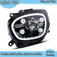 Car Styling For BMW MINI Cooper Countryman F60 Full LED Headlights Lens Projector turn signal LED DRL front headlight