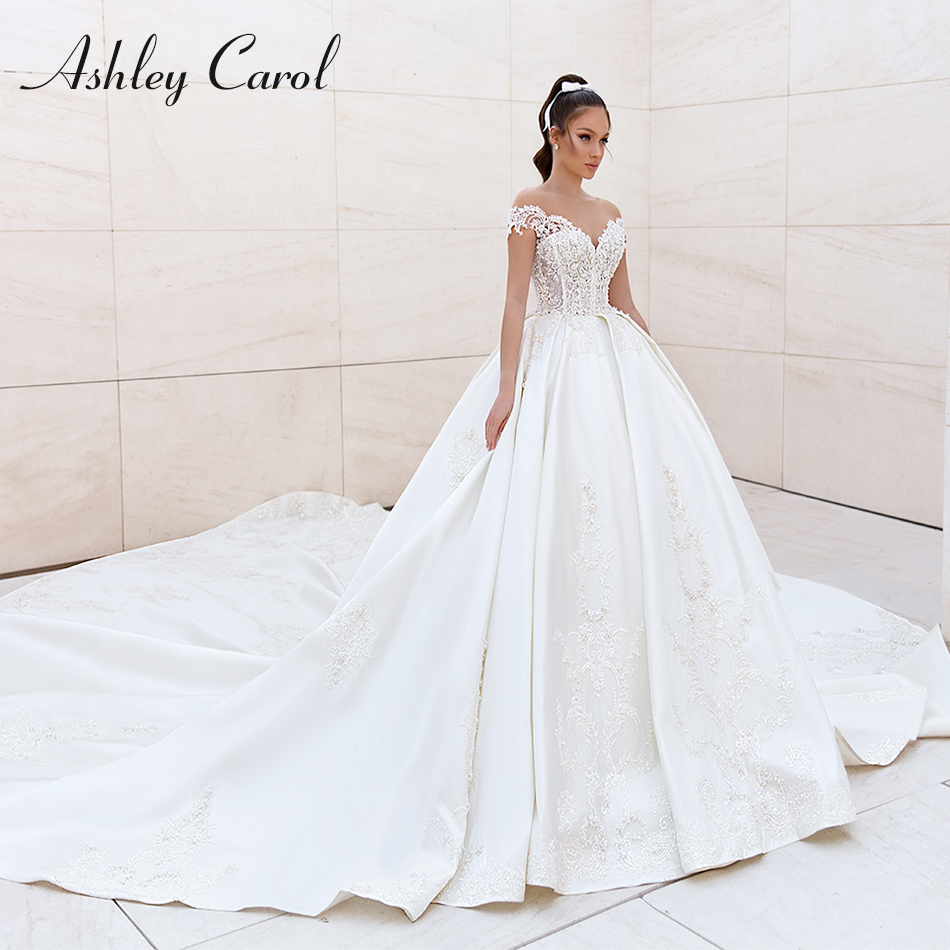 Ashley Carol Royal Satin Wedding Dresses 2020 Vestido De Noiva Sexy Sweetheart Luxury Beaded Backless Lace Princess Bridal Gowns